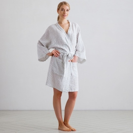 White Navy Check Linen Bath Robe Alma