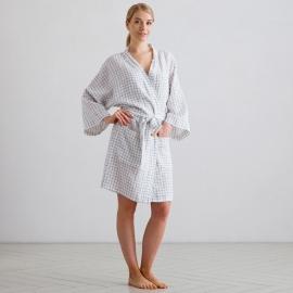 White Navy Check Linen Bath Robe Alma