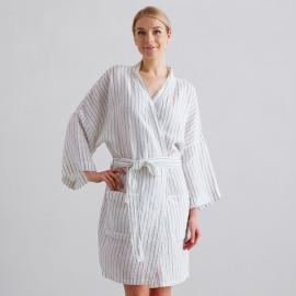 Off White Navy Stripe Medium Linen Bath Robe Alma