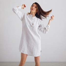 Off White Navy Stripe Medium  Linen Night Shirt Alma