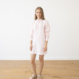 Pink Pinstripe Linen Night Shirt Alma