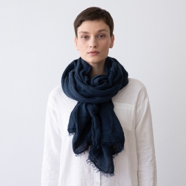 Night Blue Linen Shawl Garza Fringe