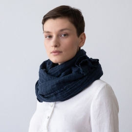 Night Blue Linen Summer Scarf Garza