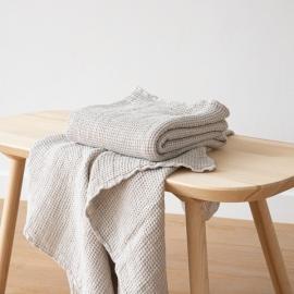Linen Waffle Bath Towel Silver