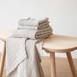 Linen Waffle Bath Towel Set Silver