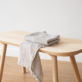 Linen Waffle Hand Towel Set Silver