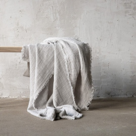 Silver Linen Throw with Fringes Washed Waffle