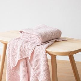 Linen Waffle Bath Towel Rosa