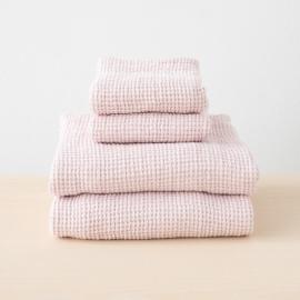 Linen Waffle Bath Towel Set Rosa