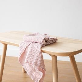 Linen Waffle Hand Towels Set Rosa