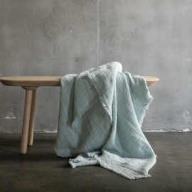 Ice Blue Linen Throw with Fringes Washed Waffle