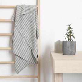 Bath Towel Black Natural Linen Brittany