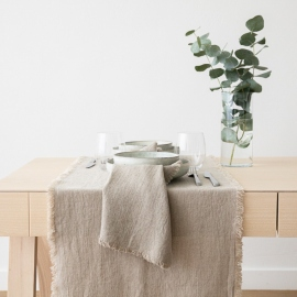 Linen Runner Natural Terra Fringe