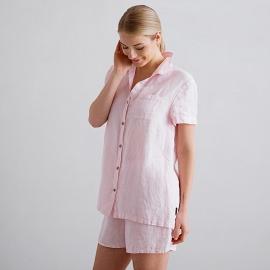 Pink Pinstripe Linen Pyjama Emilia