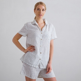 Off White Navy Check Linen Pyjama Emilia