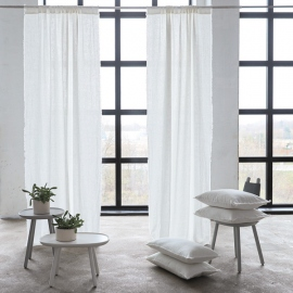 Linen Rod Pocket Curtain Panel Off White Terra Fringe