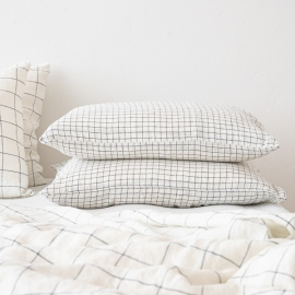 Check White Navy Washed Bed Linen Pillow Case
