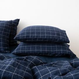 Navy White Window Pane Washed Bed Linen Pillow Case