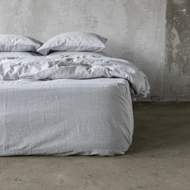 Graphite Washed Bed Linen Pinstripe Fitted Sheet Deep Pocket