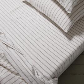 Natural Washed Bed Linen Stripe Fitted Sheet Deep Pocket