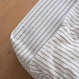 Indigo Washed Bed Linen Stripe Fitted Sheet Deep Pocket