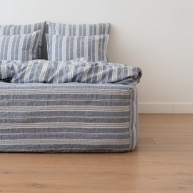 Indigo Washed Bed Linen Jazz Fitted Sheet Deep Pocket