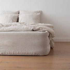 Natural Washed Bed Linen Deep Pocket Fitted Sheet Ticking Stripe
