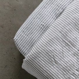 Graphite Washed Bed Linen Deep Pocket Fitted Sheet Ticking Stripe