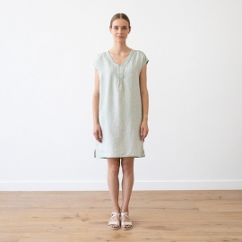 Moss Green Melange Linen Dress Alice