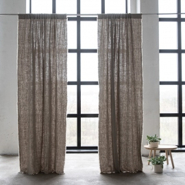 Linen Rod Pocket Curtain Panel Natural Terra Fringe