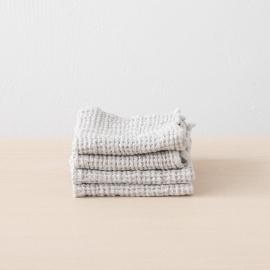 Linen Waffle Wash Cloths Set Silver