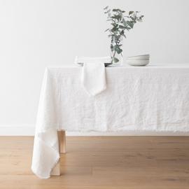 Linen Tablecloth Optical White Terra Fringe