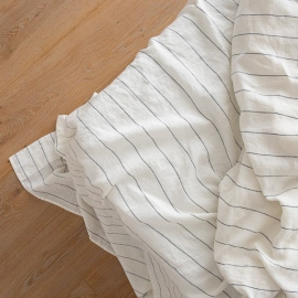 White Navy Large Stripe Washed Bed Linen Flat Sheet