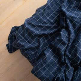 Navy White Window Pane Washed Bed Linen Flat Sheet