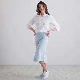 Sky Blue Melange Linen Skirt Alma