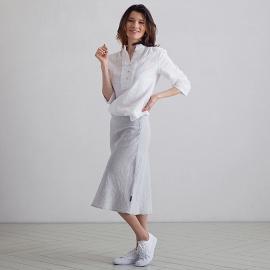 Navy Stripe Linen Shirt Fabio