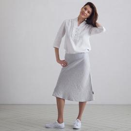 Silver Melange Linen Skirt Alma