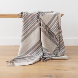 Natural Indigo Stripe Linen Throw Paolo