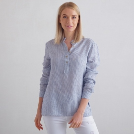 Navy Stripe Linen Shirt Toby