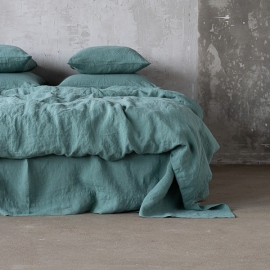 Moss Green Stone Washed Bed Linen Duvet