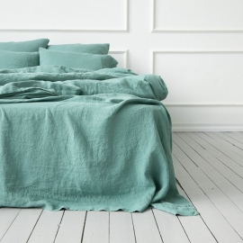 Moss Green Linen Flat Sheet Stone Washed