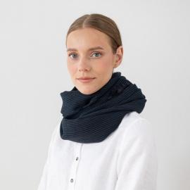 Navy Wool Scarf Fabiene