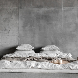 Silver Stone Washed Rhomb Bed Linen Flat Sheet