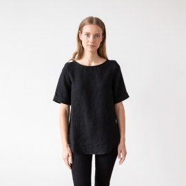 Black Linen Blouse Luisa
