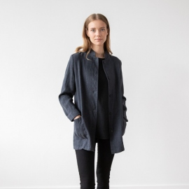 Charcoal Linen Jacket Short Paolo