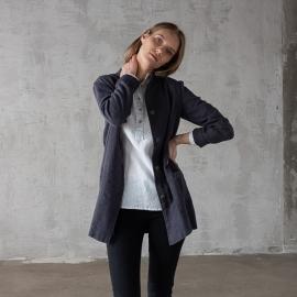 Charcoal Linen Jacket Short Paolo