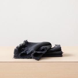 Linen Napkin Charcoal Terra Fringe
