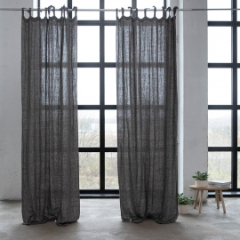 Linen Curtain Panel with Ties Natural Black Rustico Washed