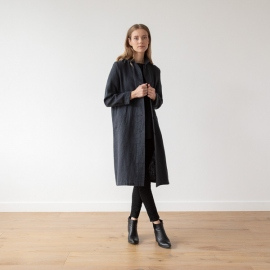 Charcoal Linen Jacket Long Fabio