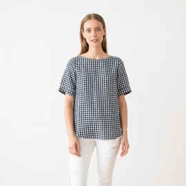 Navy White Check Linen Blouse Luisa